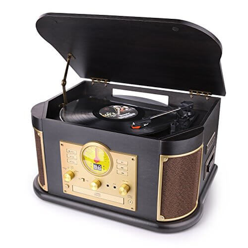 DL 7-in-1 - vintage inpired turntable record player under 200