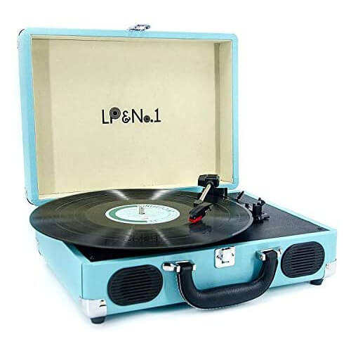 LP&No.1 - best portable suitcase vintage turntable with speakers under 200 dollars