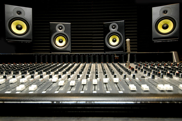 Mixing Desk With KRK Studio Monitors
